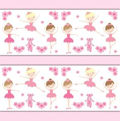 BALLERINA WALLPAPER BORDER Wall Art Decals Girl Pink Ballet Dance Baby Nursery Childrens Room Kids Bedroom Tutu Slippers Stickers Decor #decampstudios