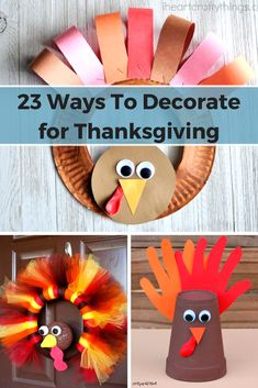 These 23 Ways To Decorate for Thanksgiving are the perfect way to keep you and your kids occupied this Thanksgiving. You can make some of these when you have some extra time from cooking, cleaning, and waiting for the family to arrive. Thanksgiving Centerpiece Diy Kids, Thanksgiving Crafts For Toddlers, Thanksgiving Art, Diy Projects For Teens, Crafts For Teens, Craft Projects, Craft Ideas, Kids Crafts, Project Ideas