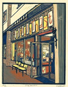 Keeping Portsmouth Funky - Shane Chick (multi-color reduction woodcut) as seen on NBC's Prime Suspect 400.00 from Etsy