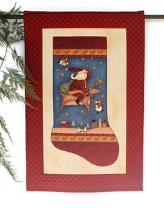 Christmas Stocking Wall Hanging Quilted Santa by RedNeedleQuilts