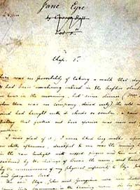 Charlotte Brontë's handwritten manuscript of Jane Eyre
