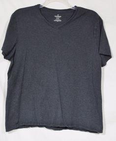 EXPRESS Men's Charcoal V-Neck T-Shirt XL 100% Cotton Short Sleeve Unlined #Express #BasicTee