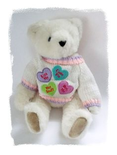 Vermont #TeddyBear #Valentine Kiss Me Cutie Pie Sweater Jointed #Plush White 16 in #Handmade #ValentinesDay