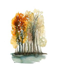 Autumn Forest -Landscape painting-Watercolor-Orange autumnal forest-Archival Large Print from my original watercolor painting 11x14 inch