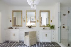 Gold French Makeup Vanity Chair - Design photos, ideas and inspiration. Amazing gallery of interior design and decorating ideas of Gold French Makeup Vanity Chair in closets, girl's rooms, bathrooms by elite interior designers - Page 4 Grey Bathrooms, Beautiful Bathrooms, White Bathroom, Master Bathroom, Master Shower, Luxury Bathrooms, Luxury Kitchens, Grey Floor Tiles, Bathroom Floor Tiles