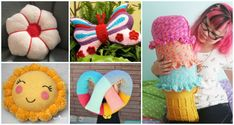 Fun Crochet Kids Pillows Free Patterns for Kids Gift and Spring decor, butterfly, donuts, pretzel, pom pom, flower, cookie decorative pillow and more