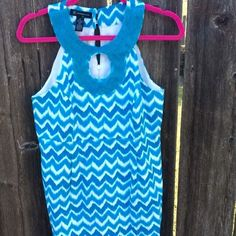 "INC sleeveless dress Beautiful blue and white chevron pattern dress. Looks brand new. The back measures 37"" in length (from head to toe). Gorgeous beading around neck! The hanger does this dress no justice, such a precious dress on! INC International Concepts Dresses Mini"