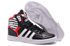 best website 0c9df a8b31 En soldes Homme Adidas extaball Basket Trainers leather m Noir blanc rouge Adidas  High Tops