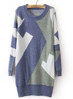 Blue Long Sleeve Geometric Pattern Loose Sweater US$32.62
