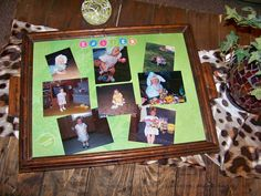 Bought this tray at an Antique shop...Took some of my daughters Easter pictures when she was little & displayed them since Easter will be here soon! When my grandbaby gets here in June, I can change it out to the holidays & compare her pictures to her moms! :)