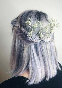 gorgeous double fishtail crown with pastel hair + sweet smelling flowers