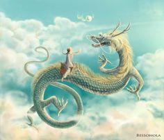 Olga Bessonova Kaluga, Russian Fede Fan dragon on Behance Dragon China, Japanese Dragon, Fairytale Art, Character Drawing, Illustrators, Fairy Tales, Behance, Deviantart, Fantasy