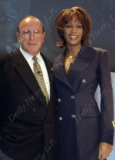 "Whitney Houston with record executive Clive Davis at a news conference about her ""My Love Is For You"" album in 1998. Photo by Richard Corkery, New York Daily News"