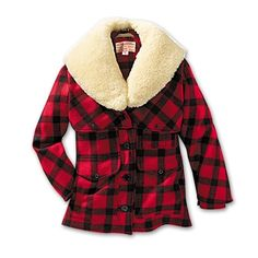 Women's Wool Packer Coat - Plaid - XS - Petite Black Red
