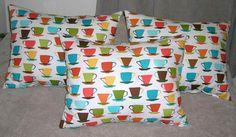 Coffee & Tea Cups Decorative Throw Pillows POP Art by ShoreCrafty, $14.00
