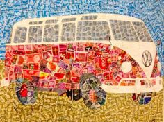 Just an ordinary (very cool) Campervan picture right? Look closely, it is made of postage stamps. This was on the wall of an airport today, Some people have such ace ideas Paper Collage Art, Paper Art, Old Stamps, Postage Stamp Art, Recycled Art, Art Journal Pages, Mail Art, Stamp Collecting, Art Projects
