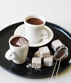 Australian Gourmet Traveller dessert drink recipe for heart-stopping hot chocolate with chocolate marshmallows