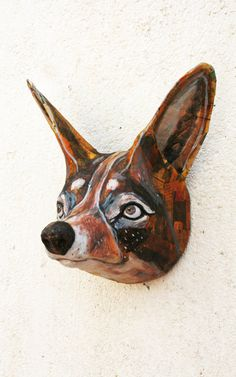 jackal paper sculpture wall hanging animal head by tundrataiga Paper Mache Sculpture, Sculptures, Taxidermy Fox, Spirit Doll, Kids Room Wall Art, Animal Heads, Woodland Nursery, Birdhouses, Art Dolls