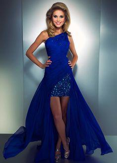 Cassandra Stone by Mac Duggal 64276A Royal Blue Hi Lo One Shoulder Prom Dress