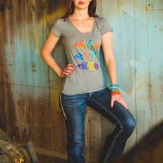 Ladies keep it sassy yet casual in this feathered print Panhandle Slim top! Only $39.99!