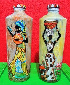 Da Série Africanas- arte by Suca Moreira African American Artwork, African Artwork, African Paintings, Wine Bottle Art, Wine Bottle Crafts, Painted Glass Bottles, Bamboo Art, Africa Art, Altered Bottles