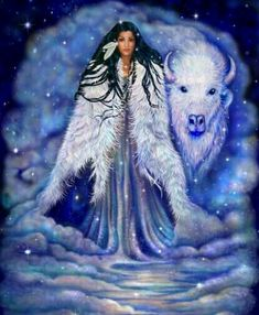 Goddess Wohpe, known as White Buffalo Woman. A goddess in the Native American mythology. Native American Artwork, Native American Women, American Indian Art, American Indians, American Symbols, American Gods, Native Indian, Native Art, Danse Country