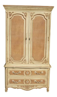 French Country Cottage Thomasville Ornate Two Tone Armoire Cabinet on Chairish.com