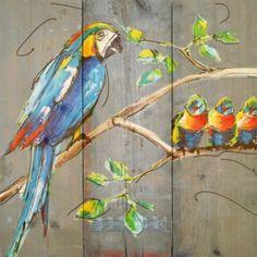 Papegaaien gezin op hout