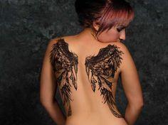 Cool Tattoo, Angel Wings Tattoo, Black and Gray Tattoo, Back Tattoo