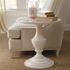In Glorious White The Somerset Bay Madeira End Table Boldly Shows Off Her Gracefully Carved Pedestal Base