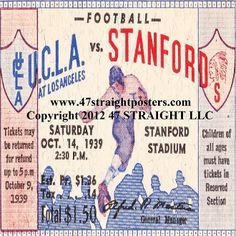 Stanford football gifts! Football ticket coasters, Stanford drink coasters, UCLA coasters. The best football gifts in America!