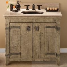 Bath Vanities - Native Trails - Americana Vanity Collection - Handcrafted by American artisans from reclaimed wood each Americana Vanity has a character as unique as its history. Its beautifully textured wood rescued from old barns homesteads and fencing has stood the test of time. These strong and weathered pieces lend soulful presence and are complemented with hand-forged iron hardware for even more individuality.