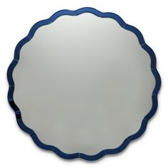 Two's Company Blue Scallop Wall Round Mirror - Glass/MDF (Special Order) Wall Mirror Online, House Gifts, Fine Linens, Round Mirrors, Blue Mirrors, Glass Design, Glass Art, Home Decor, Mirror Mirror