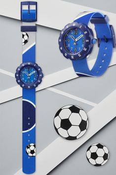 Soccer fans will go crazy for KICK IT! (ZFPSP045). Designed in bold and brilliant blue with rolling soccer balls on the machine-washable strap, this Swiss watch for kids lets them know that life is for living – around the clock. Swiss made, BPA free and with a totally awesome rotating bezel, you can't go wrong with this star player as a gift. Swiss Watch, Soccer Fans, Totally Awesome, Balls, Kicks, Clock, Watches, Star, Free