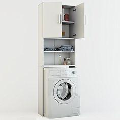 Waschmaschinenschrank Weiß 190 x 64 cm - Badregal Hochschrank Waschmaschine Bad Schrank Badezimmerschrank Überbau