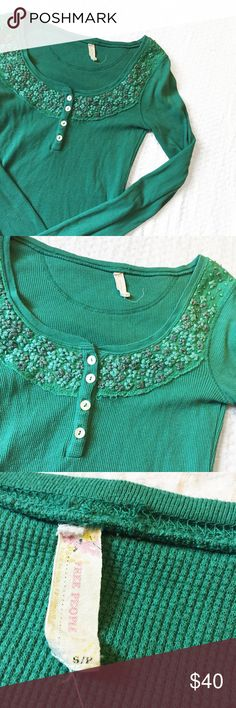 Free People Green Embroidered Henley Adorable Henley from Free People! Size small, could fit an XS. Excellent condition. Reasonable offers welcome! Free People Tops