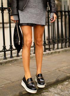 platform loafer/ short skirt