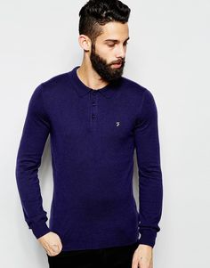 "Polo shirt by Farah Super soft-touch knit Crew neck Three button placket Brand embroidery Regular fit - true to size Hand wash 55% Polyamide, 30% Wool, 15% Acrylic Our model wears a size Medium and is 5'11.5""/181cm tall"