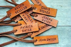 10 Leather ID Luggage Tags. Custom, Hand Stamped. Perfect Inexpensive Gift or Favor for Family, Coworkers, Friends, Wedding Party.