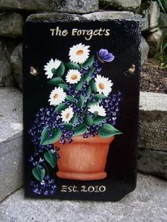 Slate Welcome Signs | Daisies Welcome slate | Hand Painted Slates & House Plaques Signs from ...