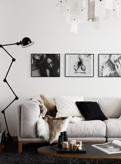 black and white living area