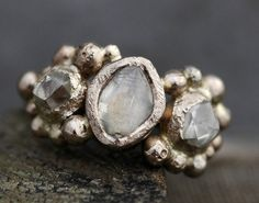 Raw and beautiful design Rough Diamond Trio in Recycled Gold Custom Made to by Specimental, $4100.00