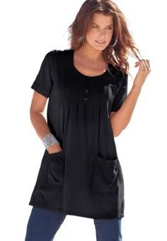 Save $15.00 on Denim 24/7 Women's Plus Size Trapeze Tunic With 2 Pockets; only $27.25
