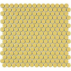 SomerTile Penny 3/4-in Vintage Yellow Porcelain Mosaic Tile (Pack of 10) 12.25x12-in
