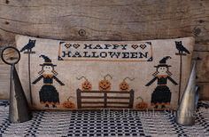 Happy Halloween...Primitive Cross Stitch by TheHumbleStitcher