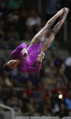 """Pin for Later: Gabby Douglas Is More Ready Than Ever For Her Second Olympic Games See the """"Flying Squirrel"""" in Action, Here We might be a little dizzy from watching this. Gymnastics Routines, Gymnastics Moves, Gymnastics Posters, Gymnastics Pictures, Volleyball Pictures, Olympic Gymnastics, Gymnastics Girls, Beach Volleyball, Gymnastics History"""