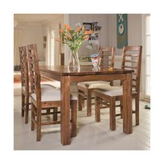 A beautifully handcrafted 5 ft sheesham wooden table accented by 6 elegant chairs makes this Dining Set a striking centerpiece for entertaining. It's beautiful design brings unparalleled warmth and a charming individuality to your settings Dining Table Design, Glass Dining Table, Beautiful Dining Rooms, Beautiful Homes, Dining Room Sets, Modern Glass, Wooden Tables, Chairs, Furniture