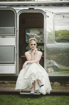 Quirky 1950's Inspired Wedding featured on brides.com. From photographer, Carla Ten Eyck, event and floral designers, Whim Events. Featuring vintage air stream trailer and custom drinks from Hive Events. Beauty by d.d nickel, hair by Catie Bane. Wardrobe styling by Beth Chapman, owner of The White Dress by the shore.    Dress: 'Wonderful Tonight' @Ivy and Aster