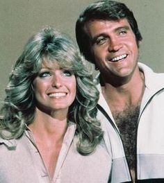 Farrah Fawcett and Lee Majors....They used to come in my line at a grocery store I worked at.   I wore my hair like Farrah's back then and had a HUGE crush on Lee!  lol