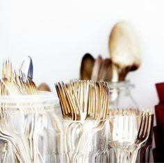 Gold utensils. Via erineverafter.blogspot.com